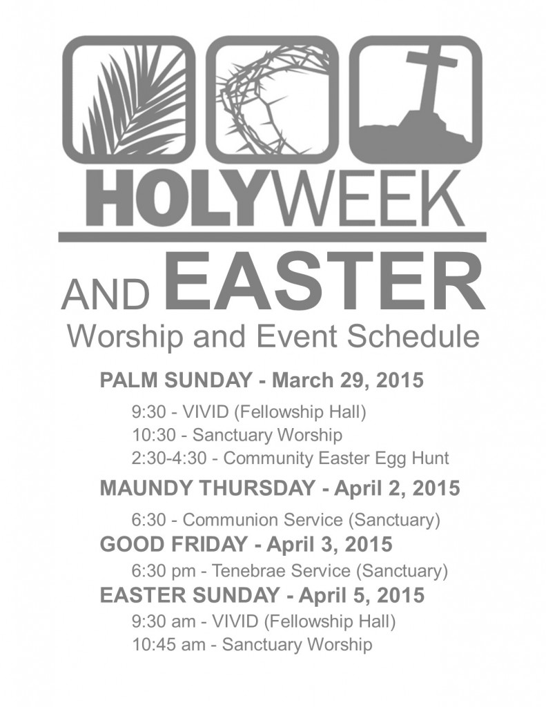 2015 Holy Week and Easter